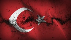 Turkey grunge dirty flag waving on wind. Turkish background fullscreen grease flag blowing on wind. Realistic filth fabric texture on windy day Stock Photos