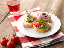 Turkey Ham Canapes Stock Photos