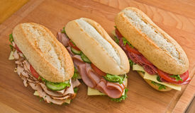 Turkey, ham and salami sandwiches Royalty Free Stock Image
