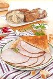 Turkey ham slices with bread. Royalty Free Stock Photos