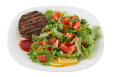 Turkey hamburger with salad Royalty Free Stock Photos