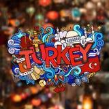 Turkey hand lettering and doodles elements. Background. Vector blurried illustration stock illustration