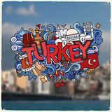 Turkey hand lettering and doodles elements Royalty Free Stock Images