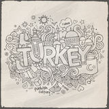 Turkey hand lettering and doodles elements Stock Images