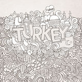 Turkey hand lettering and doodles elements Stock Photography