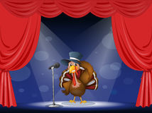 A turkey with a hat at the center of the stage Royalty Free Stock Photo