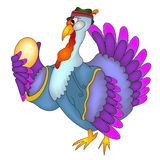 Turkey in hat with Easter eggs Stock Image