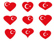 Turkey. Hearts with the Turkish flag. Vector Stock Photography