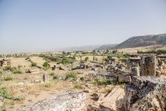 Turkey Hierapolis (Pamukkale). Landscape with ancient necropolis Royalty Free Stock Images