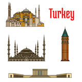 Turkey historic architecture buildings. Vector detailed icons of Hagia Sophia, Galata Tower, Sultan Ahmed Mosque, Anitkabir for souvenir decoration elements Royalty Free Stock Photo