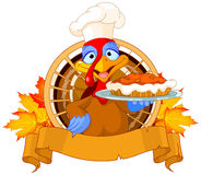 Turkey Holds Pie Stock Image