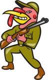 Turkey Hunter Carry Rifle Shotgun Cartoon Stock Photography