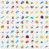 100 turkey icons set, isometric 3d style Stock Images