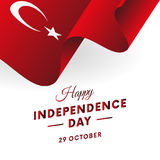 Turkey Independence Day. 29 October. Waving flag in heart. Vector. Stock Image