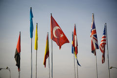 Turkey international flag flags. Turkey flag among international flags, background stock image