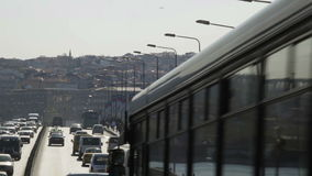 Turkey, Istanbu. And traffic on bridge stock footage