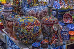 Ceramic vases and jugs at the Grand Bazaar royalty free stock photography