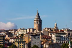 Istanbul City Skyline With Galata Tower stock photos
