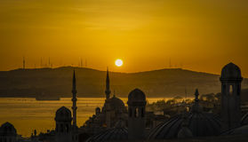 Turkey, Istanbul city sunrise. Sunrise photo from a high place in Istanbul. The Marmara Istanbul is seen through the marine environment Stock Photos