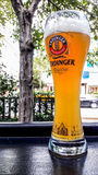 TURKEY, ISTANBUL - DECEMBER 29, 2016: Erdinger Beer Glass at garden of the pub. Stock Image