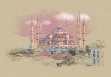 Turkey Istanbul, graphics on old paper. Sketch watercolor on old paper Royalty Free Illustration