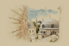 Turkey Istanbul, graphics on old paper. Watercolor sketch. graphics on old paper Royalty Free Illustration