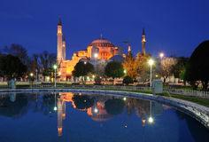 Turkey. Istanbul. The Hagia (Aya) Sophia at night. Reflecting in the pond royalty free stock images