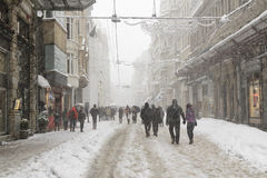 Turkey. Istanbul, Turkey - January 09, 2017: A winter day in the Istiklal street stock images
