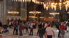 Interior of the old mosque of Hagia Sophia. Turkey, Istanbul - 5 June 2019: interior of the old mosque of Hagia Sophia where a large number of tourists go and stock video footage