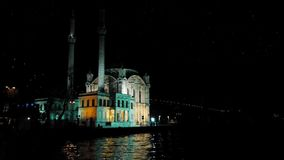 Turkey, Istanbul, Mosque at night. Turkey, Istanbul, Hagia Sophia City Mosque near coast illuminated at night - Travel Destinations - Vacations - Religion - Full stock video