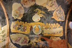 Murals under the dome in the Church of the Holy Savior Outside the Walls. Second name of it now is The Kariye Museum in Istanbul,. Turkey, Istanbul 14,03,2018 stock image