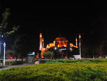 Turkey istanbul night. Mosque light istanbul Royalty Free Stock Image