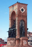TURKEY, ISTANBUL - NOVEMBER 07, 2013: Elements of the famous Republic Monument on Taksim square. stock photos