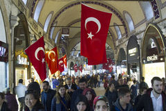 TURKEY, ISTANBUL - NOVEMBER 2016: People crowd and shops on the Stock Images