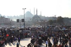 Turkey, Istanbul 10.22.2016 - People on city street of Istanbul royalty free stock photography
