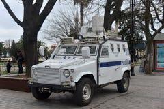 Police car in the city street. Turkey, Istanbul, 14,03,2018 Police car in the city street royalty free stock photography