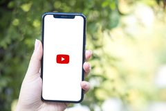 Turkey, Istanbul - September 15.2018: Hands on experience on Youtube. Reviewing Youtube application. Showing Youtube on mobile pho. Showing Youtube on mobile royalty free stock image