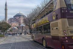Sight seeing tourist bus. Turkey, Istanbul, 11,03,2018    Sight seeing tourist bus BigBus passing through Galata Bridge, famous bridge that spans the Golden Stock Photos