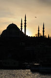 Turkey. Istanbul. Silhouette of Yeni Cami (Mosque) Stock Images