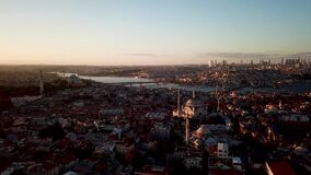 Turkey Istanbul on Sunset. Aerial View of Golden Horn, Galata and Metro Bridge
