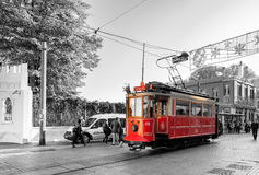 Turkey. Istanbul. Tram at Taksim street. Stock Photos