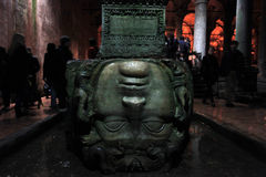 Medusa Head at Underground basilica cistern in Istanbul, Turkey Stock Images