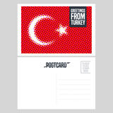 Turkey, Istanbul vector postcard design with Turkish flag Royalty Free Stock Photography