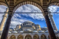 A view of the majestic Suleiman Mosque in Istanbul, Turkey. Turkey, Istanbul, 13,03,2018   A view of the majestic Suleiman Mosque in Istanbul, Turkey Royalty Free Stock Photos