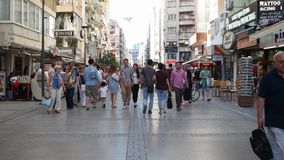 TURKEY - IZMIR - ALSANCAK; JULY 2015: Kibris Sehitleri street is the most popular tourism destination at Izmir city center. IZMIR - ALSANCAK; JULY 2015: Kibris stock video