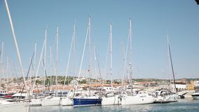 TURKEY - IZMIR CESME- JUNE, 2015: Marina with yachts on touristic county, center of Cesme stock video