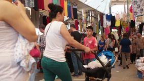 TURKEY - IZMIR - JULY 2015: Biggest and most crowded bazaar in the city. Located in Bostanli, Karsiyaka stock video footage