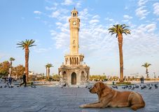 Turkey Izmir Old Clock Tower. Empty Konak Square view with historical clock tower. It was built in 1901 and accepted as the official symbol of Izmir City, Turkey Royalty Free Stock Photography