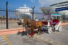 Turkey. Izmir. Port. Horse-drawn carriage. Stock Images