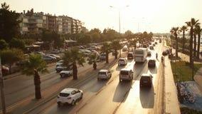 TURKEY - IZMIR, TURKEY - JULY 2015: Izmir traffic and city view from Goztepe Bridge. IZMIR, TURKEY - JULY 2015: Izmir traffic and city view from Goztepe Bridge stock video footage
